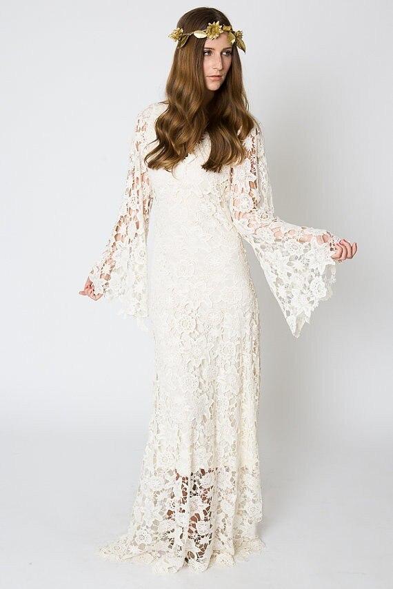 vintage ivory lace bohemian wedding dress v neck bell sleeves boho embroidered maxi lace dress