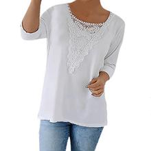 New Women T -Shirts Sexy Lace Stitching Long Sleeve Casual Shirts Tee Tops 2018 Spring Clothing Plus Size Gv486