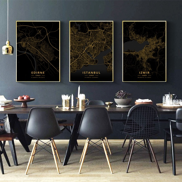 <font><b>Istanbul</b></font> Izmir Edirne Mersin Turkey City Map Gold Map Canvas Art Print Wall Pictures for Living Room No Frame image