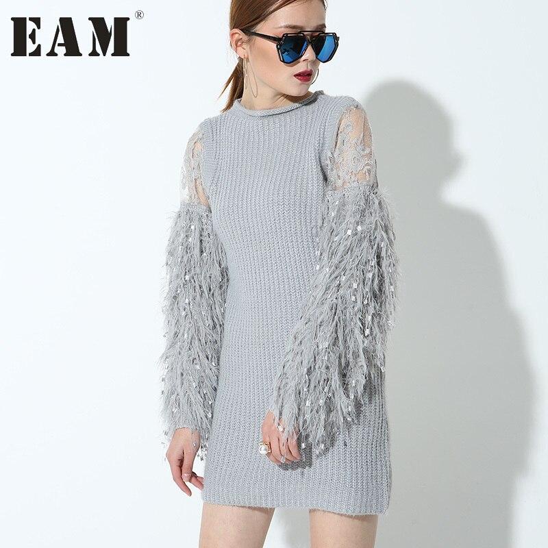 EAM 2017 new Fashion stitching knitting lantern sleeves Full sleeved gray color short dress women