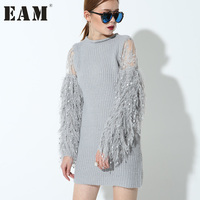 Soonyour New Fashion Stitching Knitting Lantern Sleeves Long Paragraph Long Sleeved Gray Color Short Dress