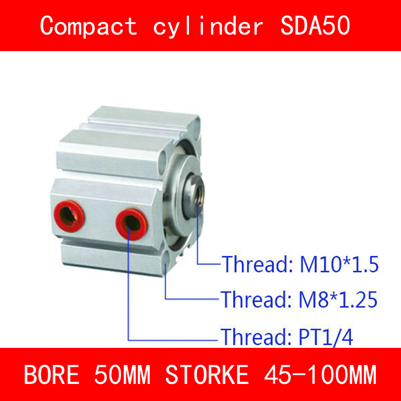 CE ISO SDA50 Cylinder SDA Series Bore 50mm Stroke 45-100mm Compact Air Cylinders Dual Action Air Pneumatic Cylinders