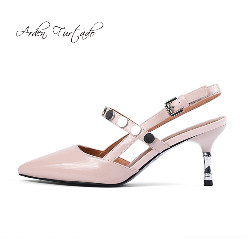 336e2ae1 7 Zapatos Genuino Verano De La Correa Señoras Cuero Furtado Stilettos  Trasera Oficina Sandalias 2018 Para ...
