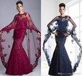 Janique новое поступление скромные 2015 пром платья формальные вечернее платье с длинным рукавом кружева аппликации русалка шаль
