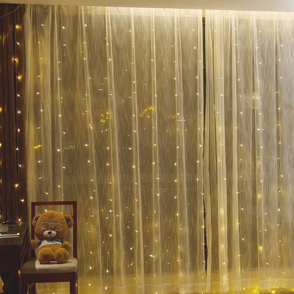 все цены на 3x3m led icicle Window Curtain String Lights 300 LED Christmas lights for Wedding Party Home Garden Bedroom Wall Decorations онлайн