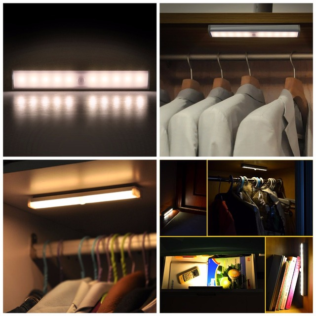 10PCS/LOT Home Kitchen LED Touch Sensor Closet Cabinet Light Lamp Wireless  Lights For Home