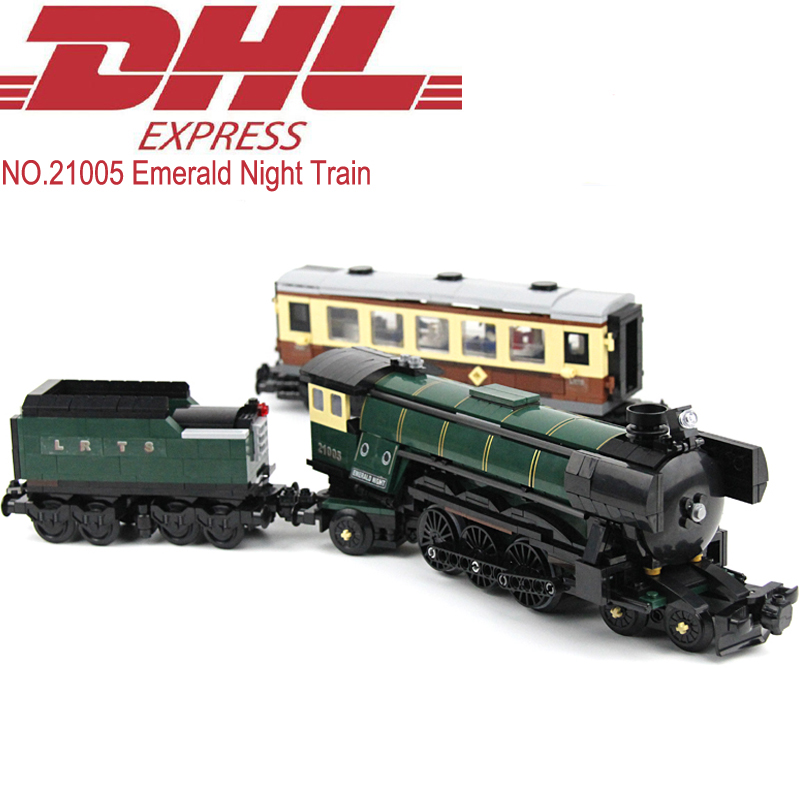 Lepin 21005 Technic Figures 1085Pcs Emerald Night Train Model Building Kits Blocks Bricks Toy For Children Gift Compatible 10194