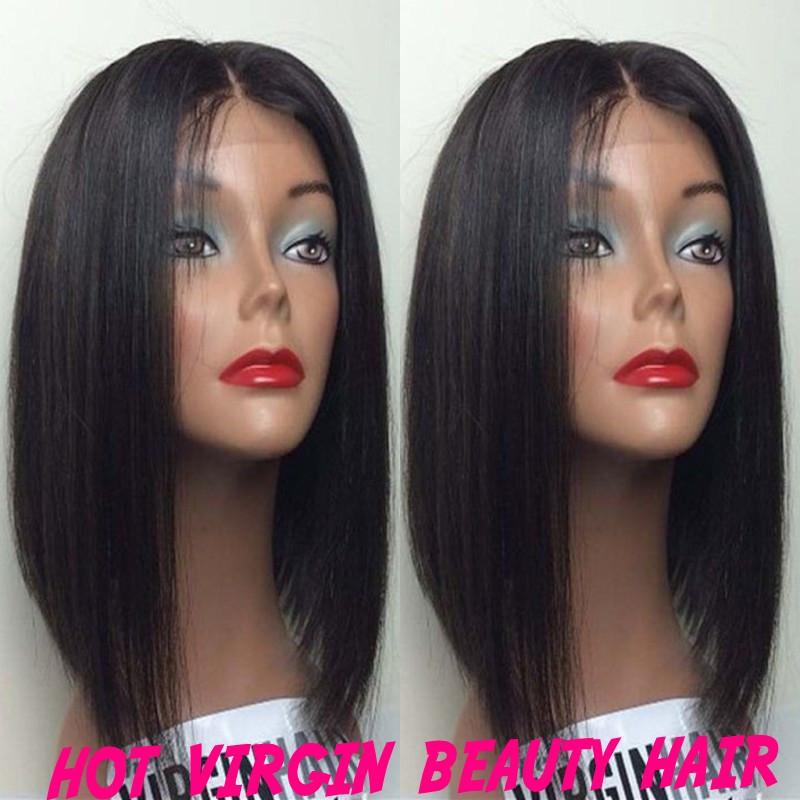 8A Hot Charming short bob cut lace front wigs glueless virgin brazilian short full lace human hair wigs bob for black women  free shipping TNT