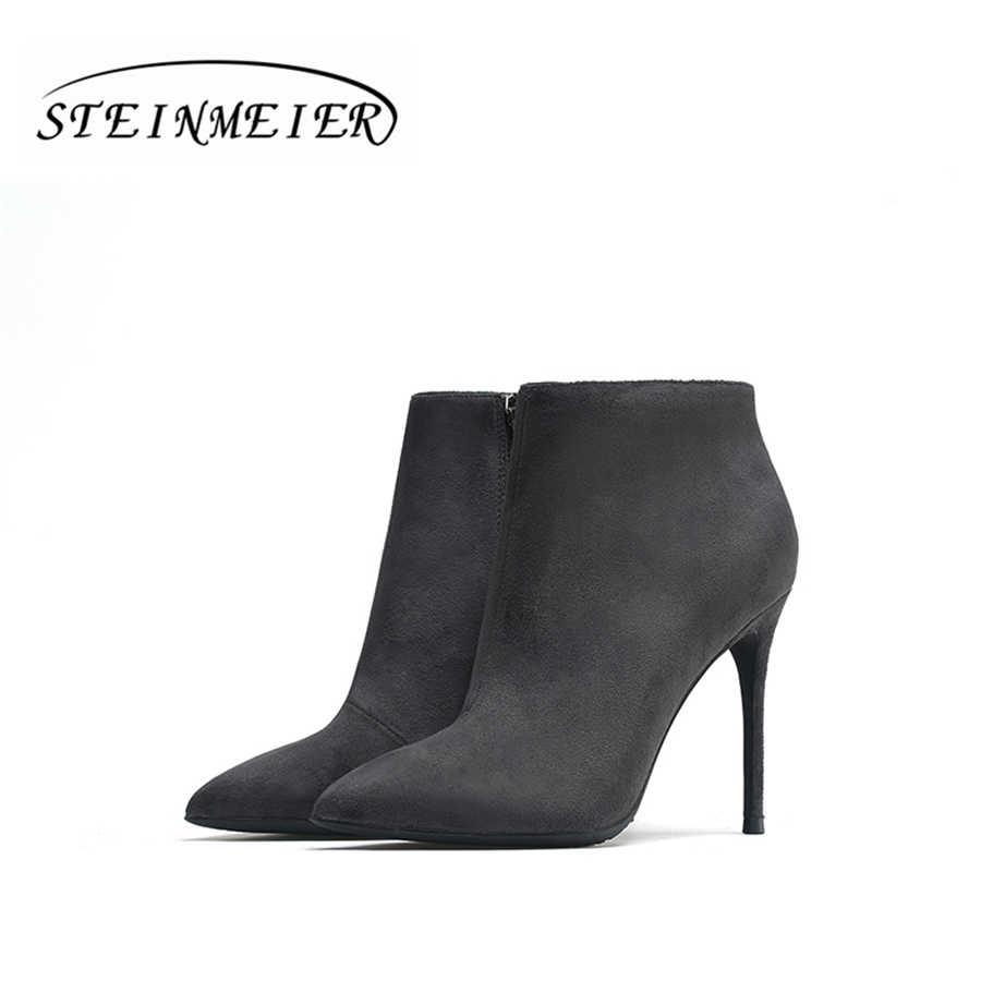 ข้อเท้าฤดูหนาวหญิงรองเท้าบูทหนังแท้ 10 ซม. point toe ซิปเซ็กซี่บางส้นสีเทาสีดำสั้น boot matte รองเท้าหญิงรองเท้า