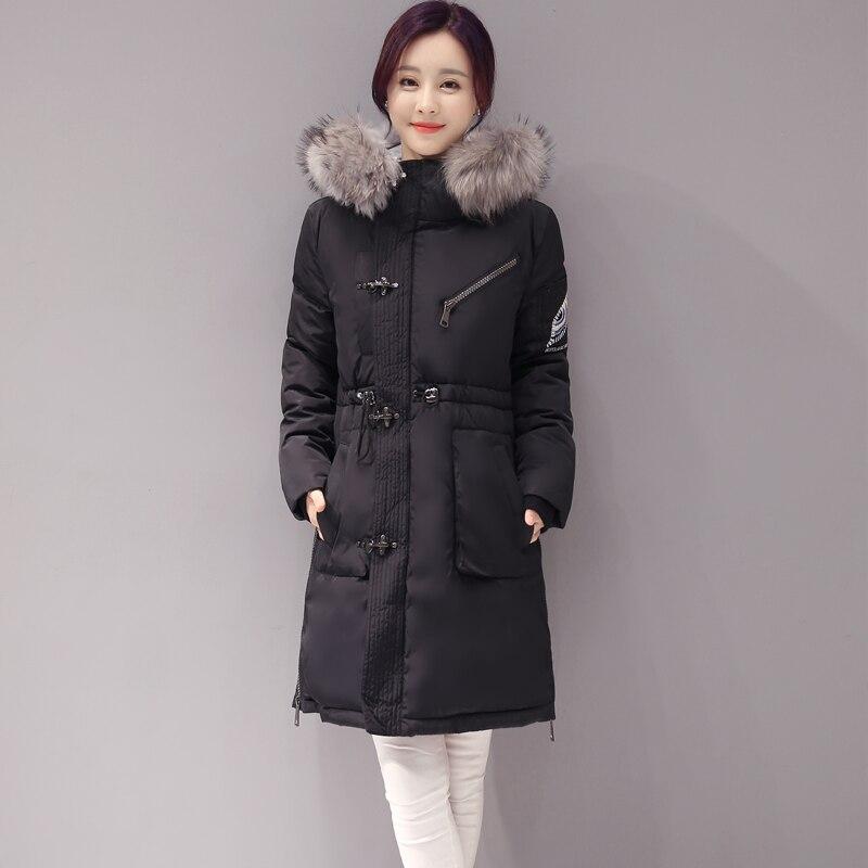 Fur Collar Womens Down Coat 2016 Winter Cotton Down Jacket Women Long Coat Parkas Thicken Slim