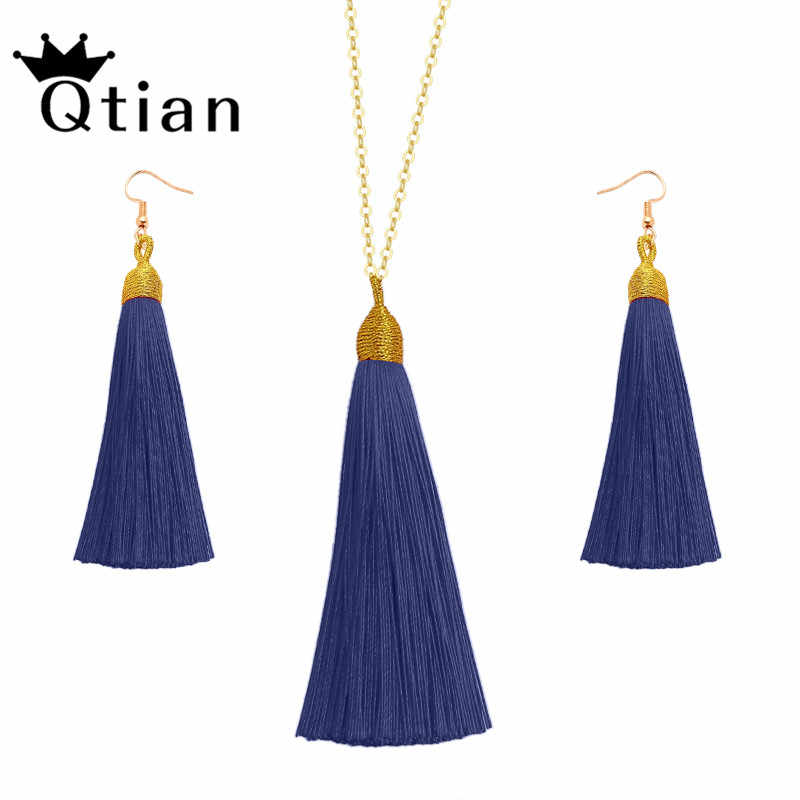 Qtian European Exaggerated Jewelry Set Vintage Silk Statement Fringe Boho Long Tassel Drop Earrings Necklace Women Fashion Punk