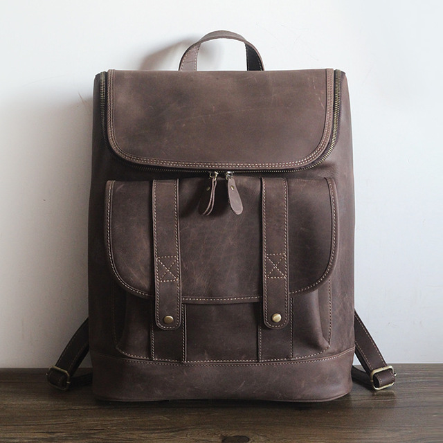 vintage unisex genuine leather backpack men/women all cow leather ...