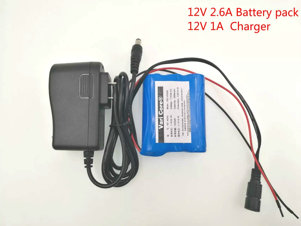 VariCore 12 V 2600 mAh 18650 Li-Ion Rechargeable Battery for CCTV Camera 2.6A Battery + 12.6V 1A Battery Charger