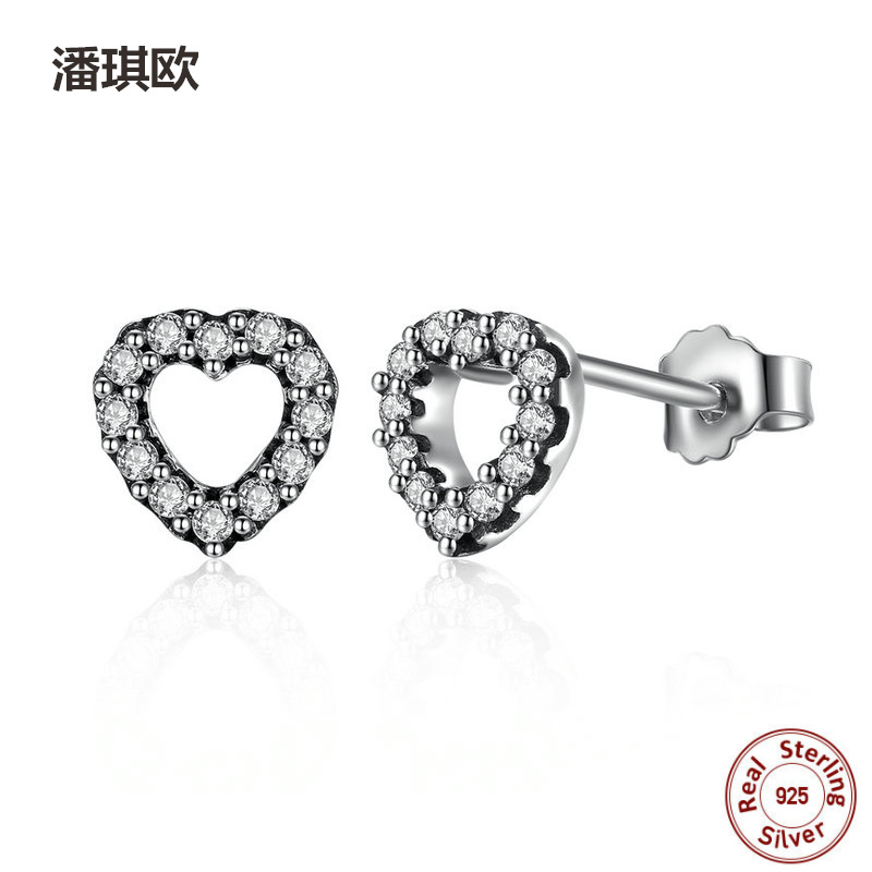 2017 hot sell 925 Sterling Silver Be My Valentine Heart Stud Earrings Clear CZ Femme Compatible with pan jewelery