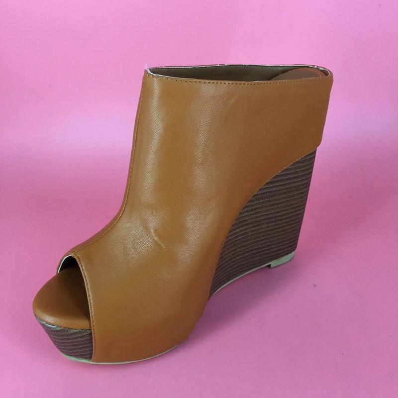 Brown Soft Leather Platform Slipper For Women Shoes Ladies Slides High Heel Wedges Fashion Sandals 2016 Women High Heel sexy 5cm platform 15cm high heel real image slides for ladies 2016 factory wholesale sexy transaprent pvc women slipper