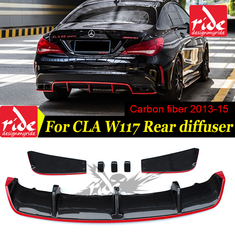 High quality Carbon fiber revozport look red line rear bumper lip diffuser for Mercedes Benz CLA W117 2013 2015 Sport diffuser