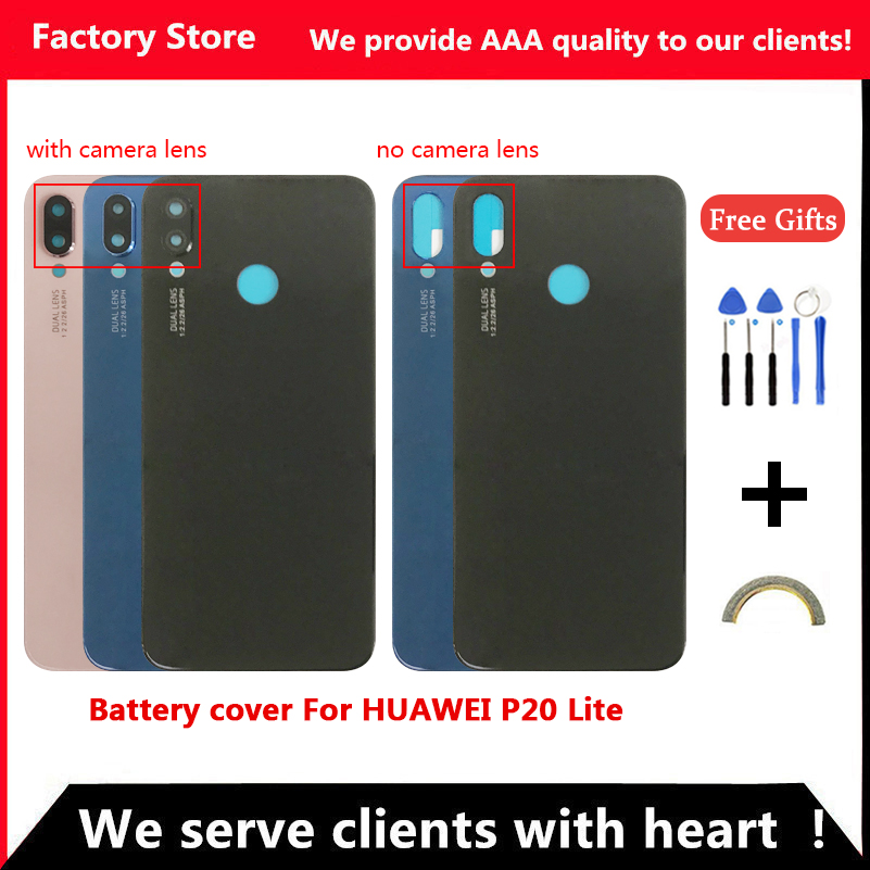 Q&Y QYJOY Battery Back Cover For Huawei P20 Lite Door Case For HUAWEI P20 Lite Housing Replacement + Back Camera Glass Lens Case(China)