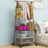 Simple Triangle Coat Rack Stainless Steel Mobile Removable Clothing Hanging Storage Rack Hanger Floor Stand Coat