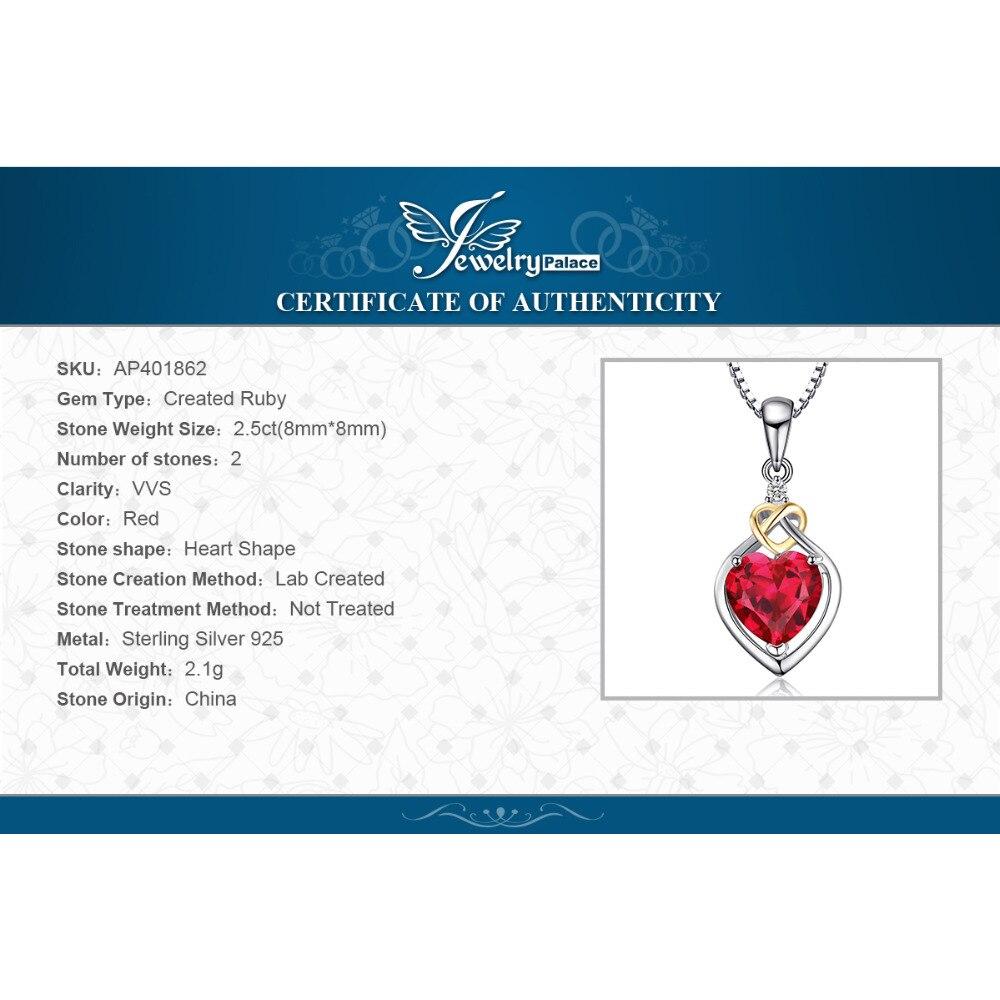 JewelryPalace Love Nnot Heart 2.5ct Creado Ruby Colgante 18 K Oro - Joyas - foto 6