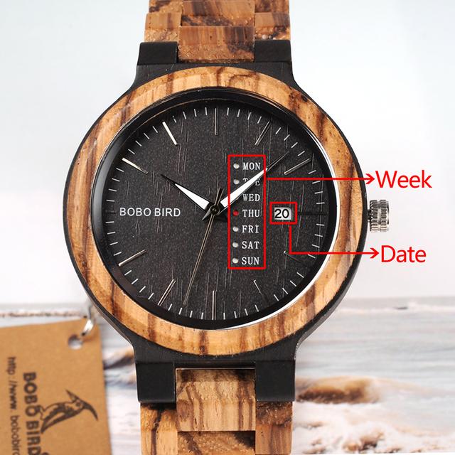 Wood Watch Men erkek kol saati Week Display Date Quartz Watches