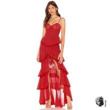 Красное зимнее длинное платье в стиле Лолиты, новинка года, вечерние платья на тонких бретельках с высоким соединением, женские драпированные кружевные платья с v-образным вырезом, женские платья