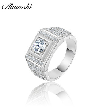 AINOUSHI Fashion 925 Sterling Silver Men Wedding Engagement Ring 1 Carat Round Cut 4 Prongs Male Silver Anniversary Party Rings