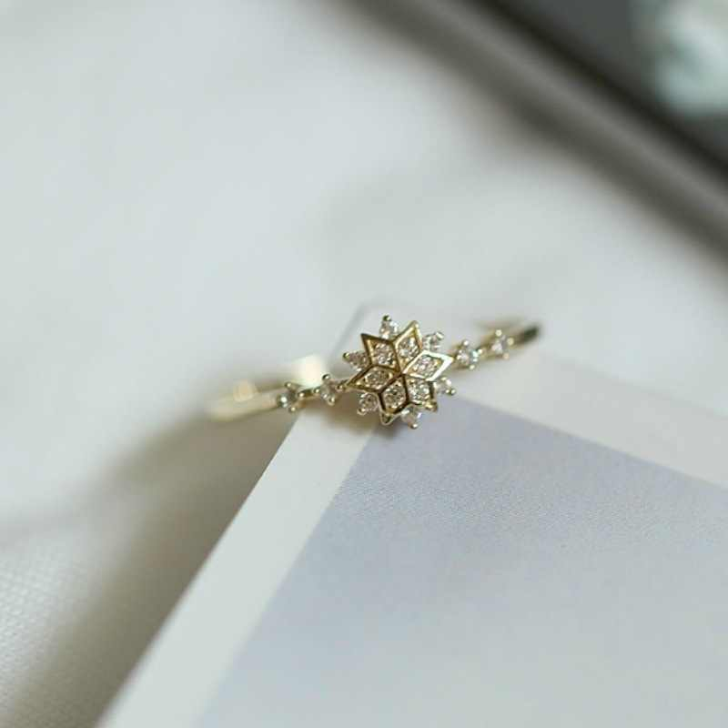 Cute Women's Snowflake Rings Female Chic Dainty Rings Party Delicate Rings Wedding Jewelry