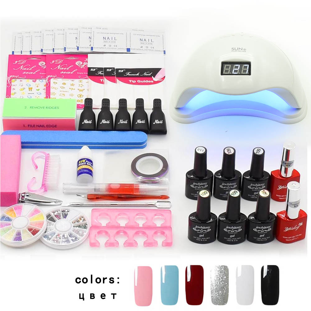 SUN5 48W UV LED Lamp Nail Set Kit 6 Colors UV Nail Gel Polish Kit Manicure Set Nail Art Tools Manicure Tools Kit