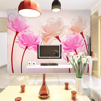 Wholesale 3d Rose Mural Vinyl Washable Wallpaper Wall Photo Mural TV Wallcovering Living Room Bedroom Flowers