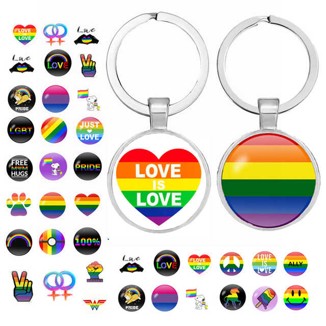 84 style Rainbow Flags Glass Dome Keychain Lesbian Gay LGBT Pride Flag Car Key Chain Silver Plated Metal Key Ring Llavero Thanos
