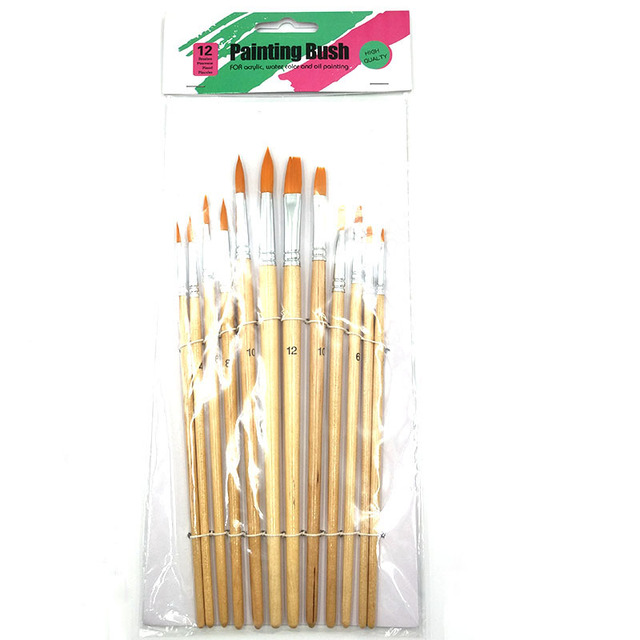 12Pcs/Lot Paint Brush Different Size Log color Nylon Hair Oil Painting Brushes Set for Watercolor Acrylic Drawing Art Supplie 5