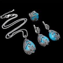 HENSEN Turca Joyería de Moda Vintage Plateado Plata Cristal Negro Y Piedra Natural Azul Turquesa Sistemas de La Joyería Para Las Mujeres