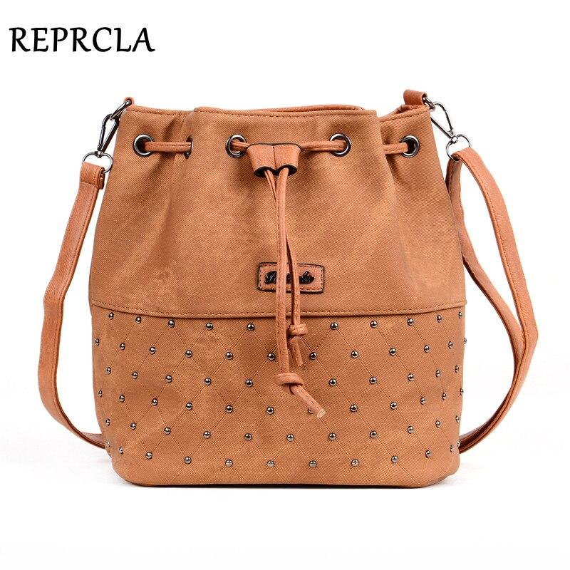 REPRCLA New Rivet Bucket Bag Women Shoulder Bag Vintage Crossbody Women Messenger Bags Handbags Women Bags Bolsa Feminina