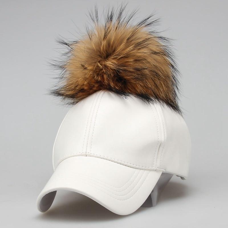 2018 Fashion Real Raccoon Fur Pompoms Hats Hip Hop candy color PU Leather Baseball Cap women Fur Snapback Hat Caps