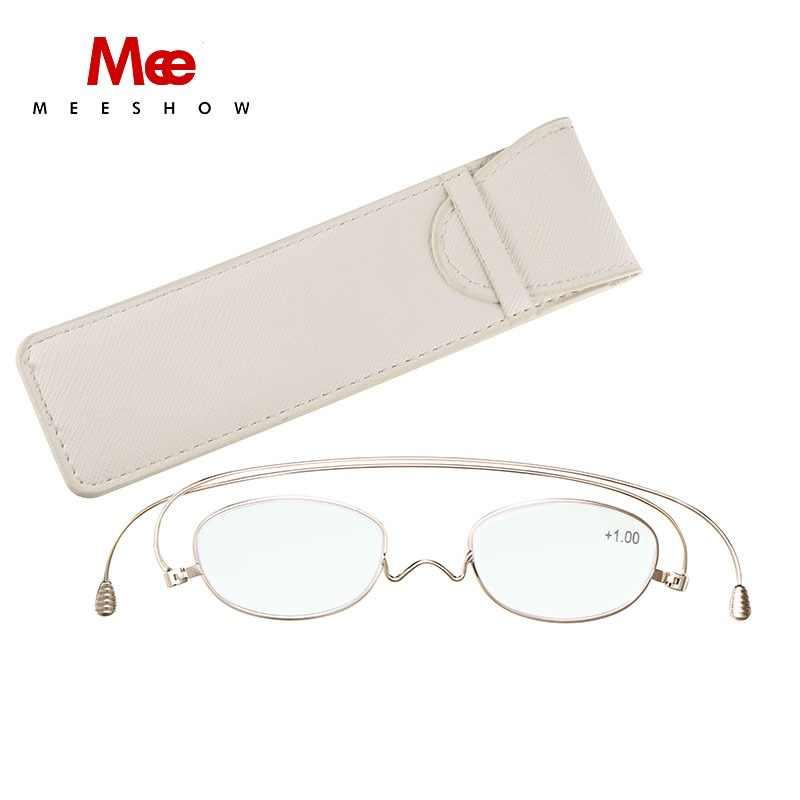 MEESHOW titanium reading glasses women men glasses frame paper glasses ultra thin eyeglasses pocket gold reading glasses +2.0