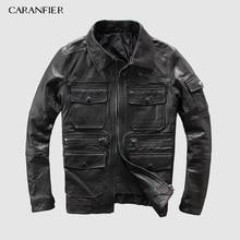 CARANFEIR 2019 100% Sheepskin Mens Genuine Leather Jacket Ne