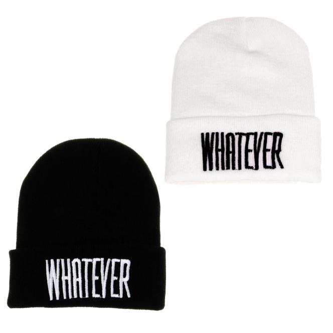 dd6fd4269c6 Winter Black Whatever Letter Printing Beanie Hat And Snapback Men And Women  Cap Knitting Wool Unisex
