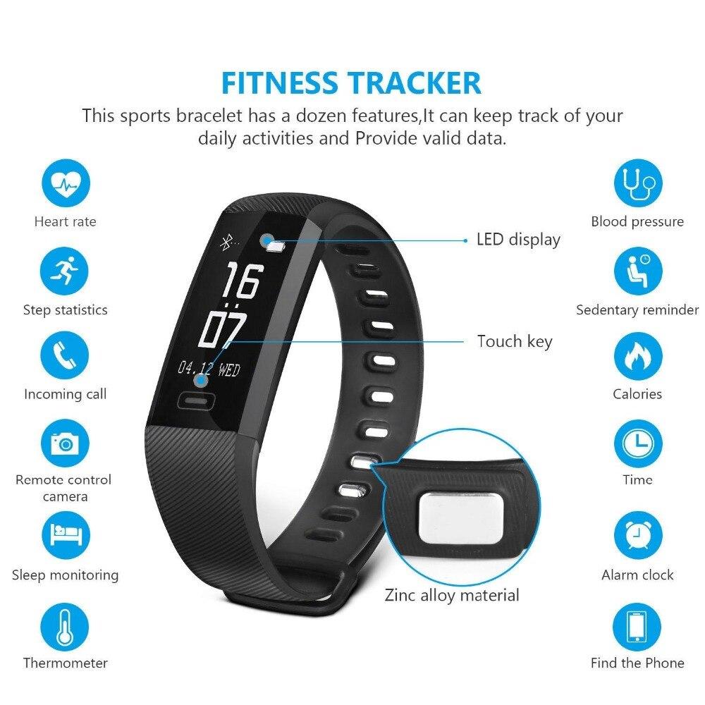 Tezer esporte moda R5pro inteligente pulseira relógio saúde sangue prsseure Passometer Tracke de Freqüência Cardíaca rastreador sono pulseira