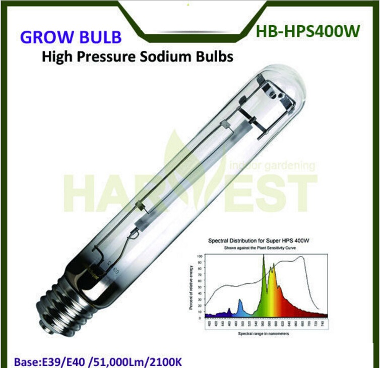 E39 E40 50000 Lumens 2100K High Pressure Sodium Grow Bulbs Lights 400W HPS for Flowering Growth