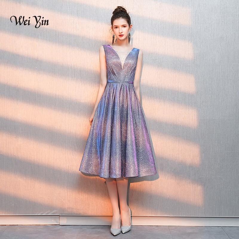 weiyin Luxury   Evening     Dresses   2019 A-line Half Sleeves Women Formal Party Gown Prom   Dress   Robe de Soiree WY1280