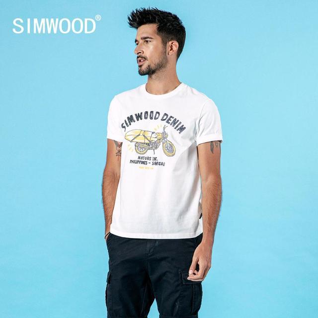 SIMWOOD 2020, Camiseta con estampado de motocicleta, letra a la moda para hombre, 100% de algodón, cuello redondo, ropa de marca de gran calidad de talla grande