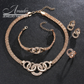 Amader Jewelry Sets For Women African Beads Gold Plated Wedding Necklace Bracelet Australia Crystal Earrings Rings Accessories