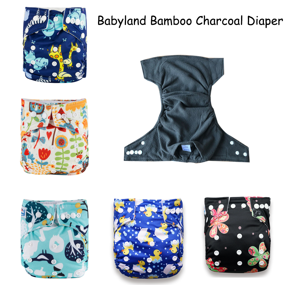 5Units Original Babyland Baby Diapers Bamboo Washable Diaper Covers Nappy Shells Bamboo Charcoal Baby Cloth Diaper Factory Price
