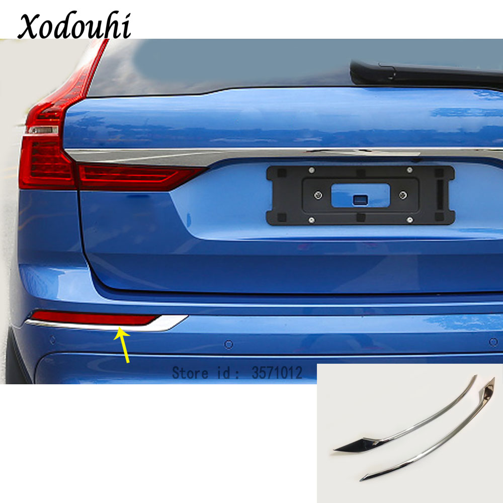 For Volvo XC60 2018 2019 2020 Car Body Styling Detector Cover Trim Rear Back Tail Rear Fog Light Lamp Frame Stick Strip Parts