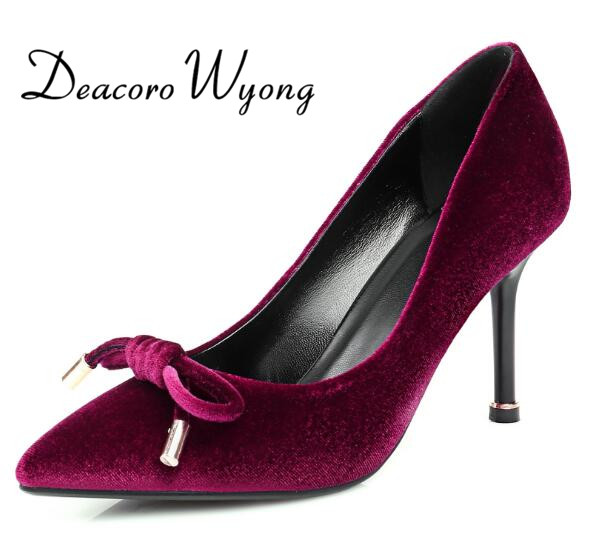 ФОТО Free shipping 2017 fashion female shallow pionted toe Bowknot  8.5cm party heels,  elegant flock shallow wedding heels 34-39