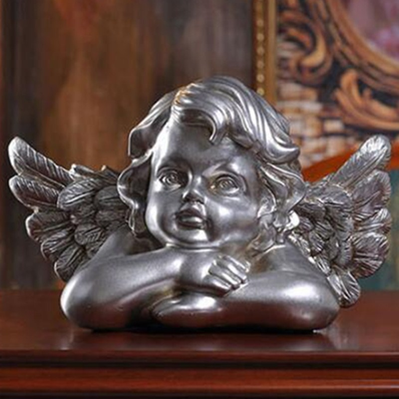 Retro Angel Bust Figure Cupid Statue Roman Mythology Gypsum Resin Craftwork Desktop Home Decorations L2193 цена