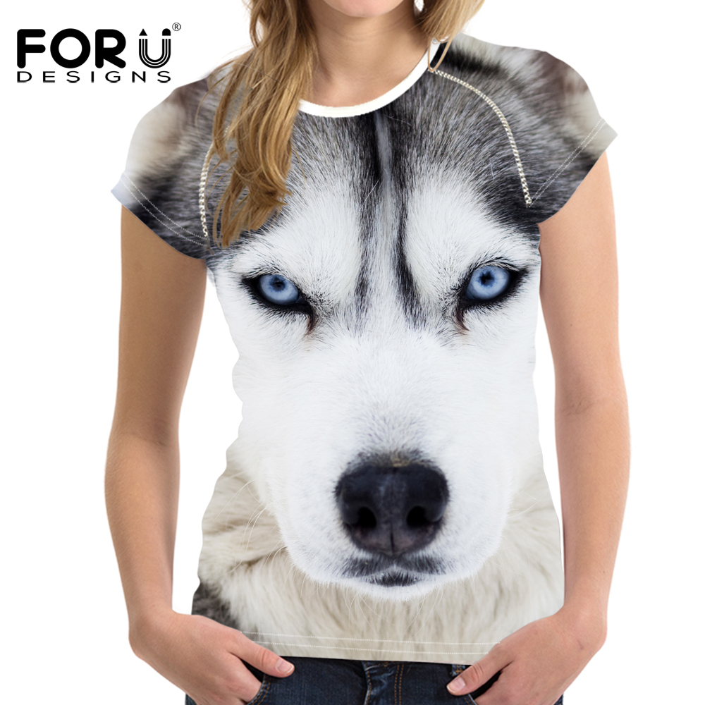 FORUDESIGNS Stilvolle 3D Tiger Muster Frauen Casual T Shirts Tops - Damenbekleidung - Foto 3