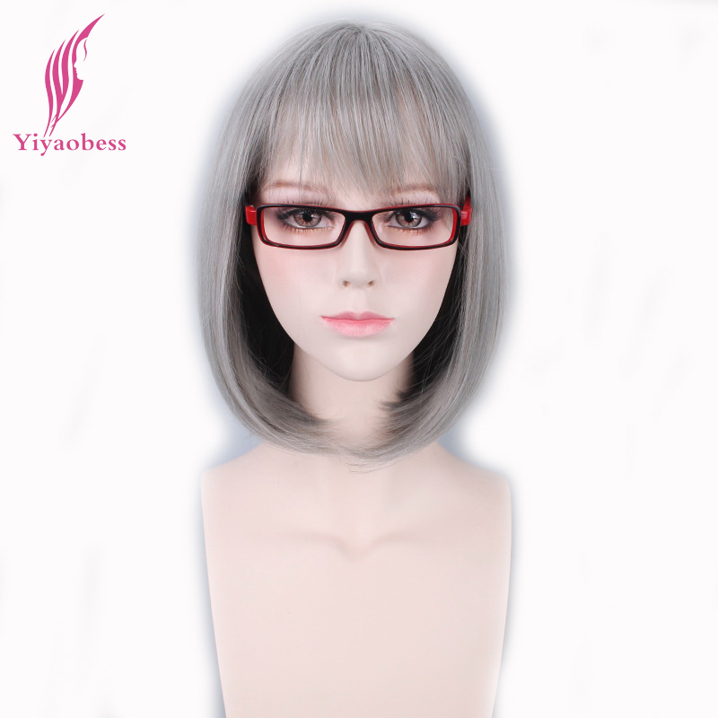 Yiyaobess 12inch Synthetic T Silver Gray Short Bob Wig With Bangs Natural Hair Heat Resistant Straight Cosplay Wigs For Women