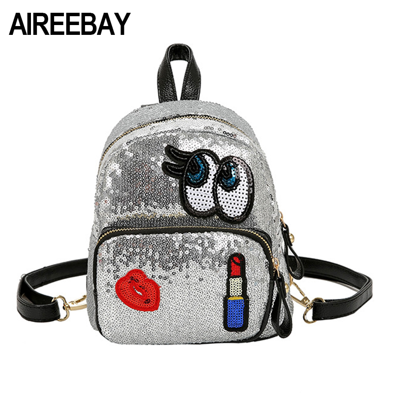 AIREEBAY Fashion Cute Girls Sequins Backpack Women Leisure Preppy Style Lips Appliques School Book Back Small Shoulder Bags