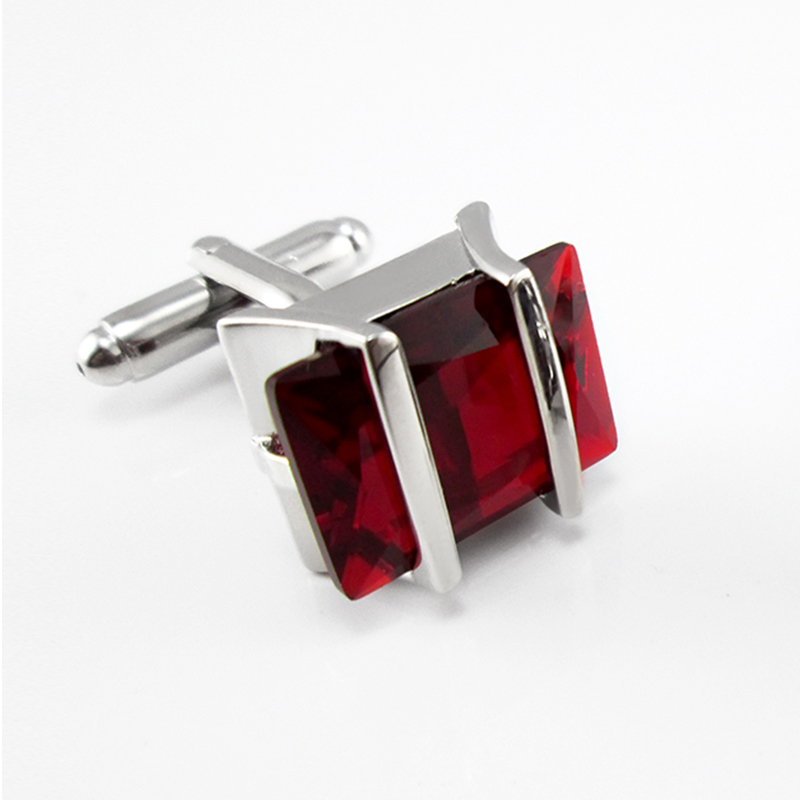 Fashion Men's Jewelry Boy Mens Wedding Shirt Cufflinks In Silver Color  For Party Cuff Links With Blue Red Crystal Encrusted